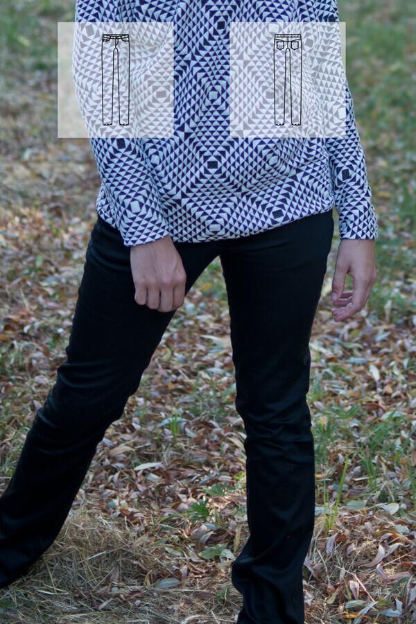 schmal geschnittene lange Hose mit runden Eingriffstaschen. Angesetztem Bund mit Gürtelschlaufen einer Passen und aufgesetzten Taschen am Hinterteil